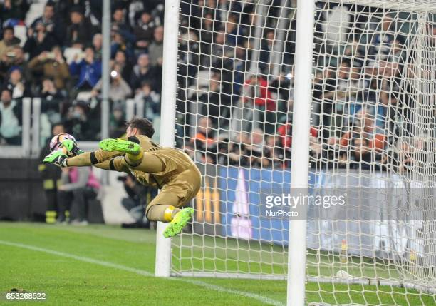 Gianluigi Donnarumma of AC Milan in action during the Serie A match between Juventus FC and AC Milan at Juventus Stadium on March 10 2017 in Turin...