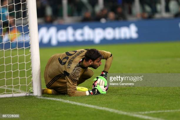 Gianluigi Donnarumma of Ac Milan in action during the Serie A football match between Juventus FC and Ac Milan at Juventus Stadium Juventus FC wins 21...