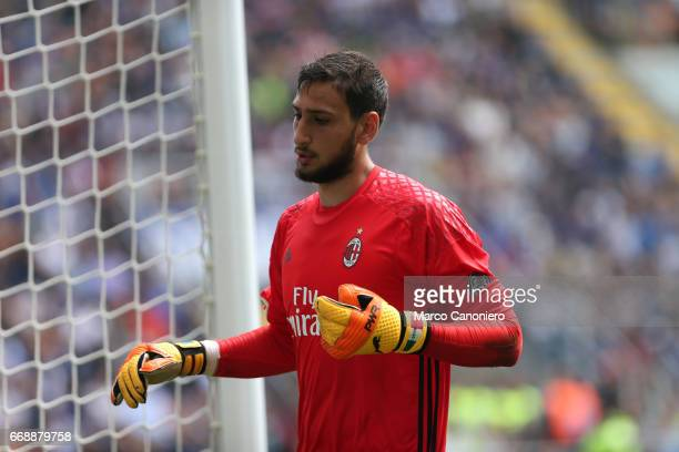 Gianluigi Donnarumma of Ac Milan in action during the Serie A match between Fc Internazionale and Ac Milan