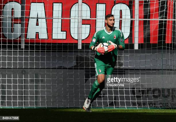 Gianluigi Donnarumma of AC Milan in action during the Serie A match between AC Milan and Udinese Calcio at Stadio Giuseppe Meazza on September 17...