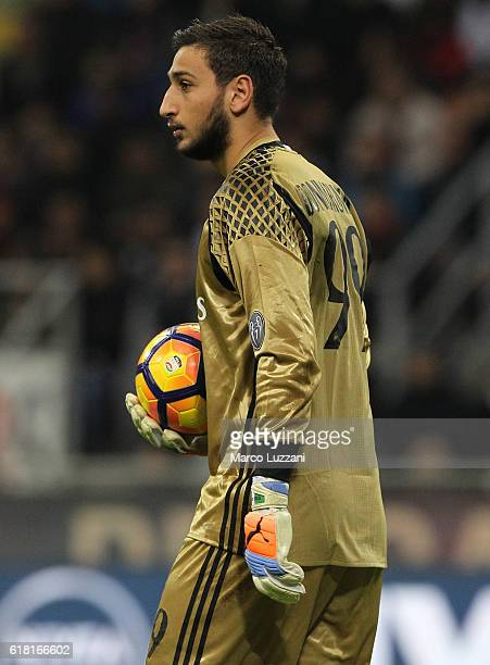 Gianluigi Donnarumma of AC Milan lokkks on during the Serie A match between AC Milan and Juventus FC at Stadio Giuseppe Meazza on October 22 2016 in...