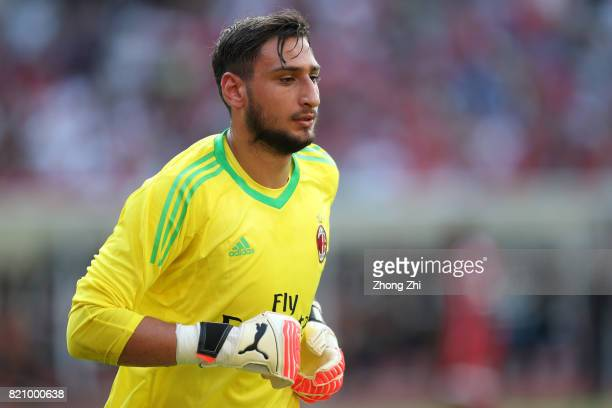 Gianluigi Donnarumma of AC Milan looks on during the 2017 International Champions Cup football match between AC Milan and FC Bayern Muenchen on July...