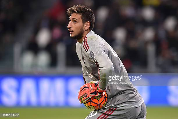 Gianluigi Donnarumma of AC Milan looks on during the Serie A match between Juventus FC and AC Milan at Juventus Arena on November 21 2015 in Turin...