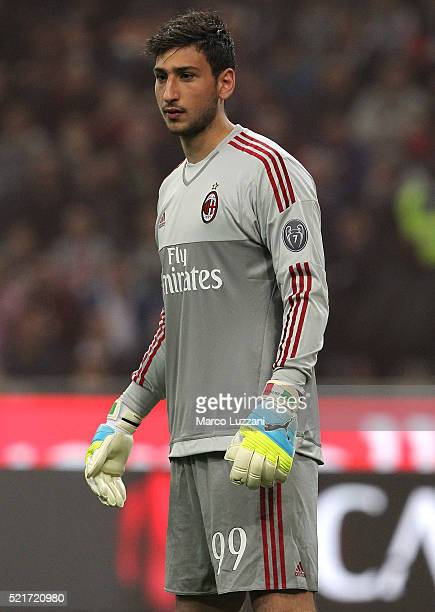 Gianluigi Donnarumma of AC Milan looks on during the Serie A match between AC Milan and Juventus FC at Stadio Giuseppe Meazza on April 9 2016 in...