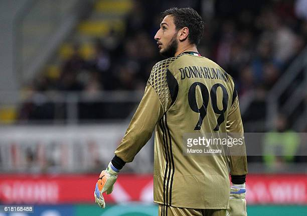 Gianluigi Donnarumma of AC Milan looks on during the Serie A match between AC Milan and Juventus FC at Stadio Giuseppe Meazza on October 22 2016 in...