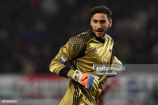 Gianluigi Donnarumma of AC Milan looks on during the Serie A match between FC Torino and AC Milan at Stadio Olimpico di Torino on January 16 2017 in...
