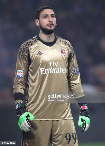 Gianluigi Donnarumma of AC Milan looks on during the Serie A match between AC Milan and ACF Fiorentina at Stadio Giuseppe Meazza on February 19 2017...