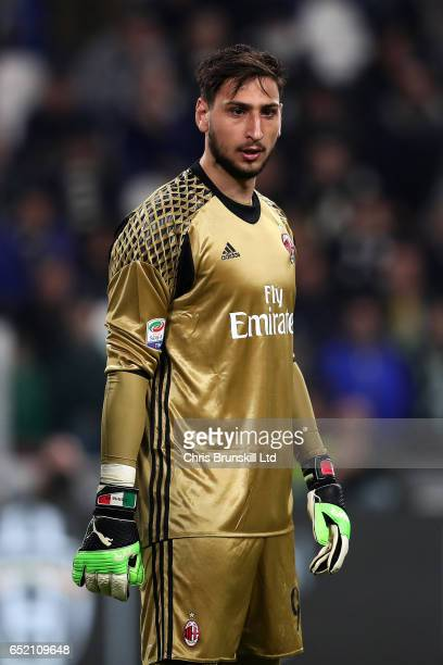 Gianluigi Donnarumma of AC Milan looks on during the Serie A match between Juventus FC and AC Milan at Juventus Stadium on March 10 2017 in Turin...