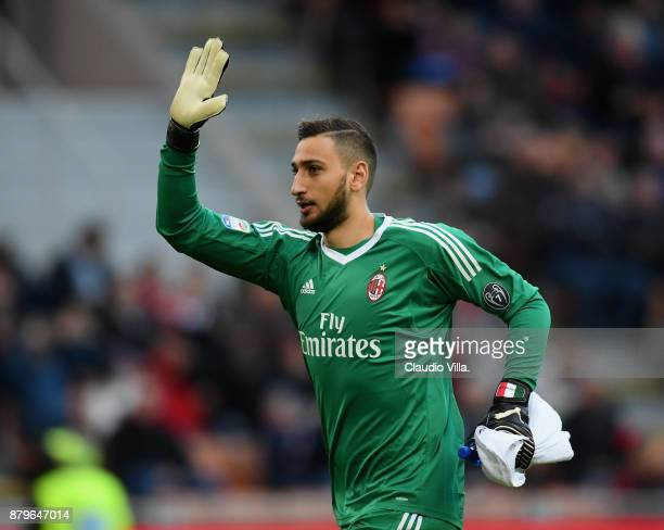 Gianluigi Donnarumma of AC Milan looks on during the Serie A match between AC Milan and Torino FC at Stadio Giuseppe Meazza on November 26 2017 in...
