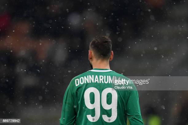 Gianluigi Donnarumma of AC Milan looks on during the Serie A match between AC Milan and Bologna FC at Stadio Giuseppe Meazza on December 10 2017 in...