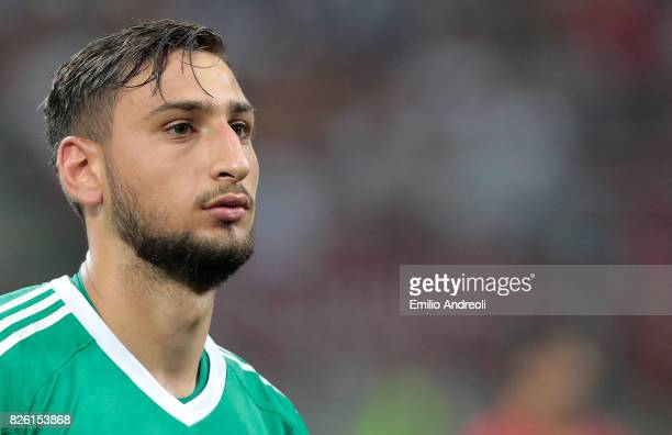 Gianluigi Donnarumma of AC Milan looks on during the UEFA Europa League Third Qualifying Round Second Leg match between AC Milan and CSU Craiova at...
