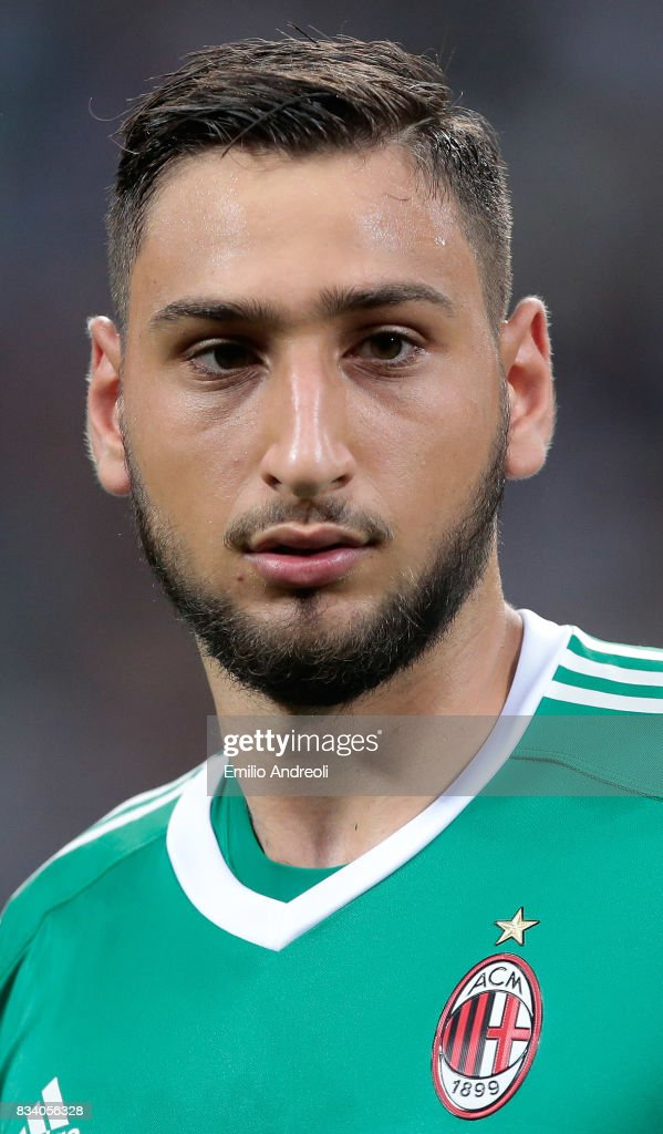 Gianluigi Donnarumma of AC Milan looks on during the UEFA Europa League Qualifying Play-Offs round first leg match between AC Milan and KF Shkendija 79 at Stadio Giuseppe Meazza on August 17, 2017 in Milan, Italy.
