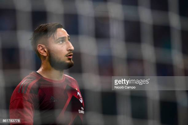 Gianluigi Donnarumma of AC Milan looks on prior to the Serie A football match between FC Internazionale and AC Milan FC Internazionale wins 32 over...