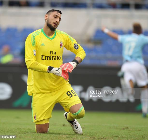 Gianluigi Donnarumma of AC Milan reacts after the team's second goal scored by Ciro Immobile of SS Lazio during the Serie A match between SS Lazio...
