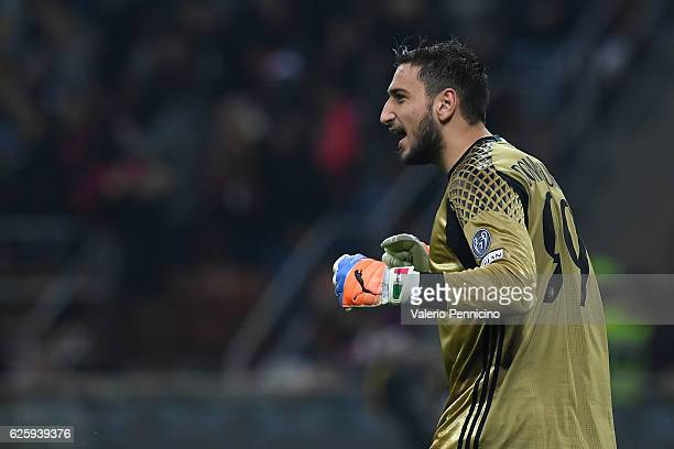 Gianluigi Donnarumma of AC Milan reacts during the Serie A match between AC Milan and FC Internazionale at Stadio Giuseppe Meazza on November 20 2016...