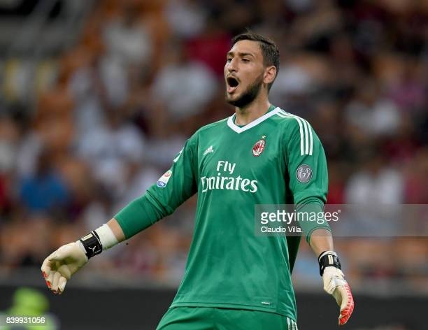 Gianluigi Donnarumma of AC Milan reacts during the Serie A match between AC Milan and Cagliari Calcio at Stadio Giuseppe Meazza on August 27 2017 in...