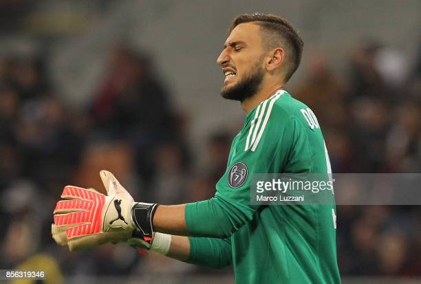 Gianluigi Donnarumma of AC Milan reacts during the Serie A match between AC Milan and AS Roma at Stadio Giuseppe Meazza on October 1 2017 in Milan...