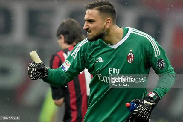 Gianluigi Donnarumma of AC Milan reacts during the Serie A match between AC Milan and Bologna FC at Stadio Giuseppe Meazza on December 10 2017 in...