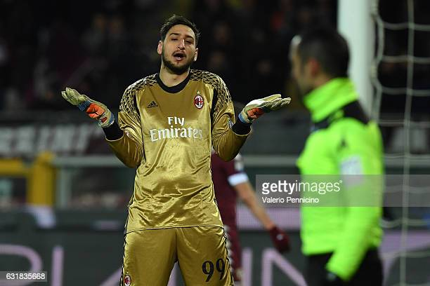 Gianluigi Donnarumma of AC Milan reacts during the Serie A match between FC Torino and AC Milan at Stadio Olimpico di Torino on January 16 2017 in...