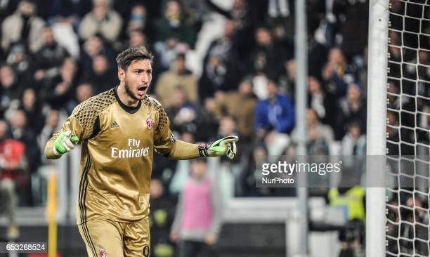 Gianluigi Donnarumma of AC Milan reacts during the Serie A match between Juventus FC and AC Milan at Juventus Stadium on March 10 2017 in Turin Italy