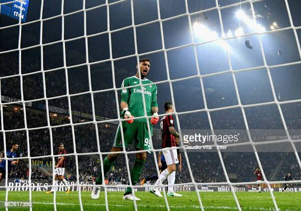 Gianluigi Donnarumma of AC Milan reacts during the Serie A match between FC Internazionale and AC Milan at Stadio Giuseppe Meazza on October 15 2017...