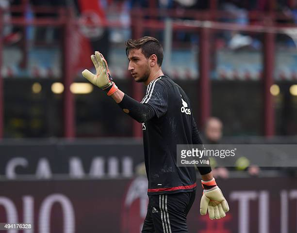 Gianluigi Donnarumma of AC Milan reacts prior to the Serie A match between AC Milan and US Sassuolo Calcio at Stadio Giuseppe Meazza on October 25...