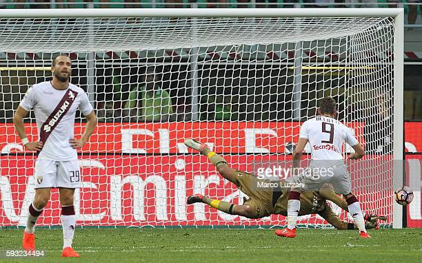 Gianluigi Donnarumma of AC Milan saves the penalty kick Andrea Belotti of Torino FC during the Serie A match between AC Milan and FC Torino at Stadio...