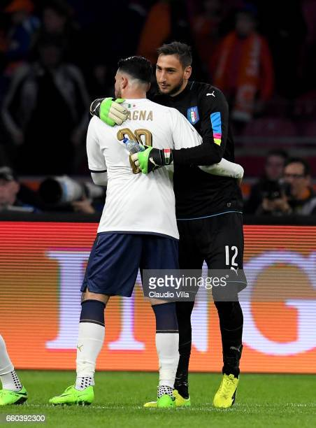 Gianluigi Donnarumma of Italy celebrates at the end of the international friendly match between Netherlands and Italy at Amsterdam Arena on March 28...
