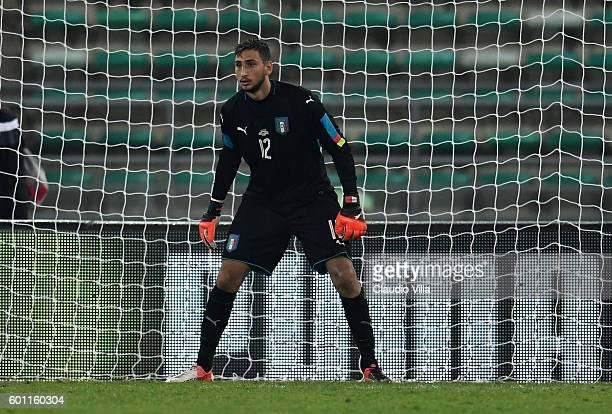 Gianluigi Donnarumma of Italy in action during the international friendly match between Italy and France at Stadio San Nicola on September 1 2016 in...