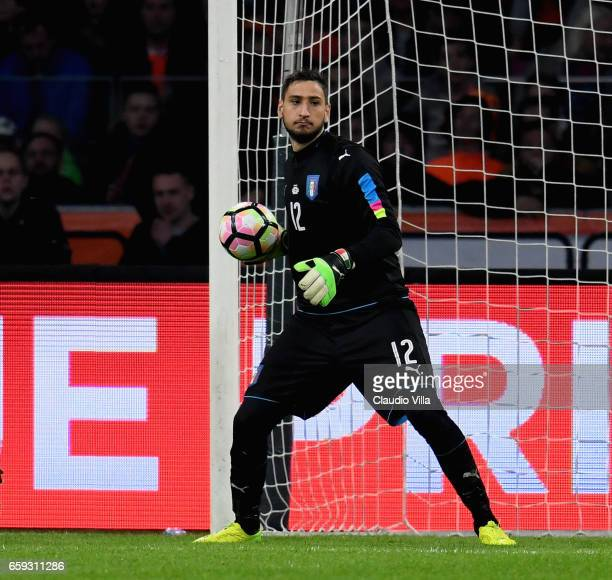 Gianluigi Donnarumma of Italy in action during the international friendly match between Netherlands and Italy at Amsterdam Arena on March 28 2017 in...