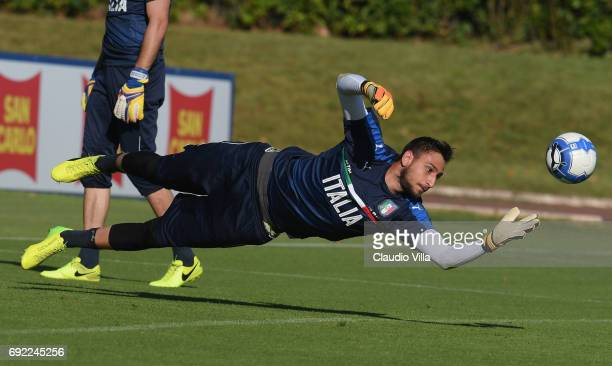 Gianluigi Donnarumma of Italy in action during the training session at Coverciano at Coverciano on June 04 2017 in Florence Italy
