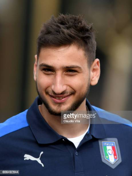 Gianluigi Donnarumma of Italy looks on prior to the training session at the club's training ground at Coverciano on March 22 2017 in Florence Italy