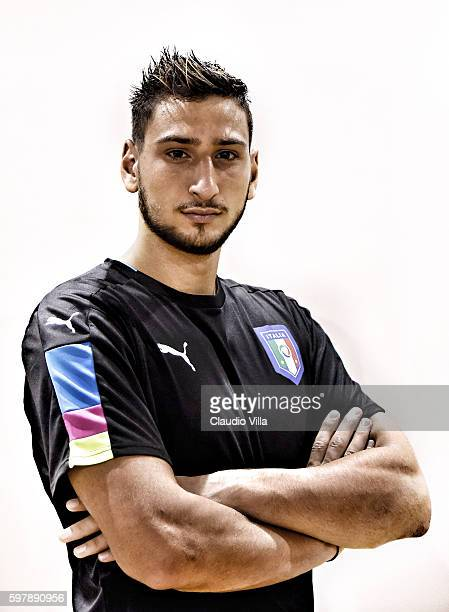 Gianluigi Donnarumma of Italy poses during the official portrait session prior to the training session at the club's training ground at Coverciano on...