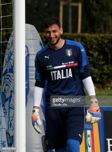 Gianluigi Donnarumma of Italy reacts during the training session at the club's training ground at Coverciano on March 22 2017 in Florence Italy