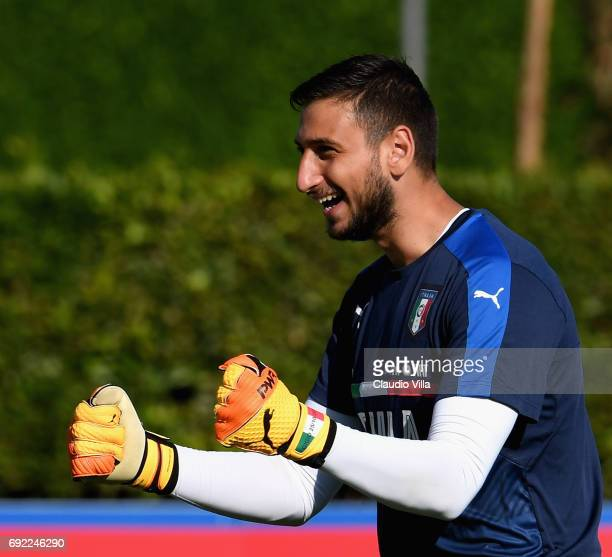 Gianluigi Donnarumma of Italy reacts during the training session at Coverciano at Coverciano on June 04 2017 in Florence Italy