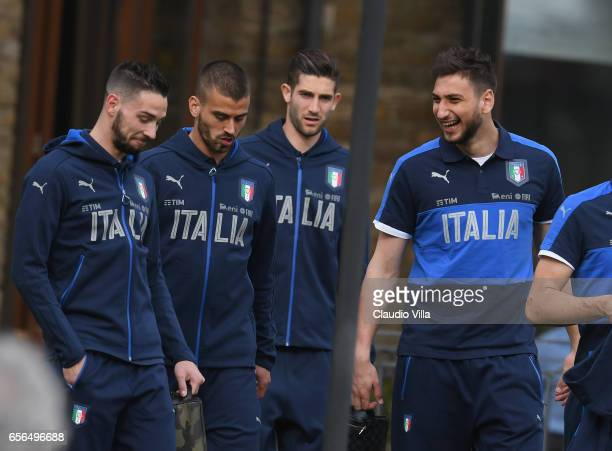 Gianluigi Donnarumma of Italy reacts prior to the training session at the club's training ground at Coverciano on March 22 2017 in Florence Italy