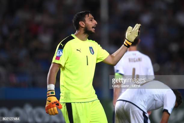 Gianluigi Donnarumma of Italy reacts towards the end of their UEFA European Under21 Championship 2017 semifinal match against Spain on June 27 2017...