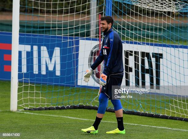 Gianluigi Donnarumma of Italy smiles during the training session at the club's training ground at Coverciano on March 20 2017 in Florence Italy