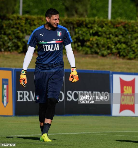 Gianluigi Donnarumma of Italy smiles during the training session at Coverciano at Coverciano on June 04 2017 in Florence Italy