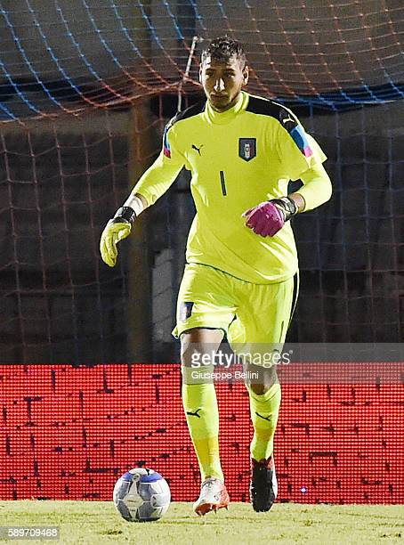 Gianluigi Donnarumma of Italy U21 in action during the international friendly match between Italy U21 and Albania U21 at Stadio Riviera delle Palme...