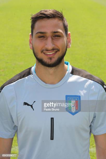 Gianluigi Donnarumma of Italy U21 poses during the official team photo at Centro Sportivo Fulvio Bernardini on June 14 2017 in Rome Italy