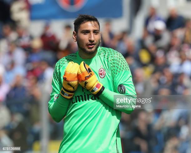Gianluigi Donnarumma of Milan during the Serie A match between FC Crotone and AC Milan at Stadio Comunale Ezio Scida on April 30 2017 in Crotone Italy