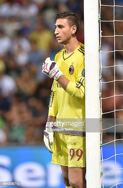 Gianluigi Donnarumma of Milan in action during the TIM preseason tournament match between AC Milan and US Sassuolo Calcio at Mapei Stadium Città del...