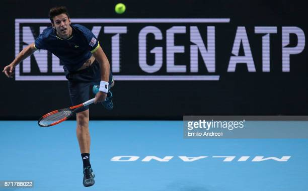 Gianluigi Quinzi of Italy serves the ball in his match against Denis Shapovalov of Canada during Day 2 of the Next Gen ATP Finals on November 8 2017...