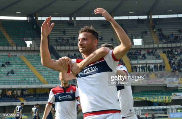Gianmarco Ferrari of Crotone celebrates after scoring his opening goal during the Serie A match between AC ChievoVerona and FC Crotone at Stadio...