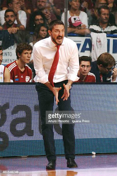 Gianmarco Pozzecco head coach of Openjobmetis in action during the LegaBasket serie A1 match between Umana Reyer Venezia and Openjobmetis Varese at...