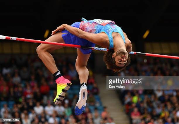 Gianmarco Tamberi of Italy competes in the Mens High Jump during the Muller Grand Prix Birmingham meeting on August 20 2017 in Birmingham United...
