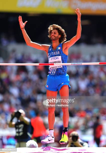 Gianmarco Tamberi of Italy reacts as he competes in the Men's High Jump qualification during day eight of the 16th IAAF World Athletics Championships...