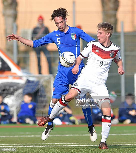 Gianmaria Zanandrea of Italy and Florian Kruger of Germany in action during the international friendly match between U16 Italy and U16 Germany on...