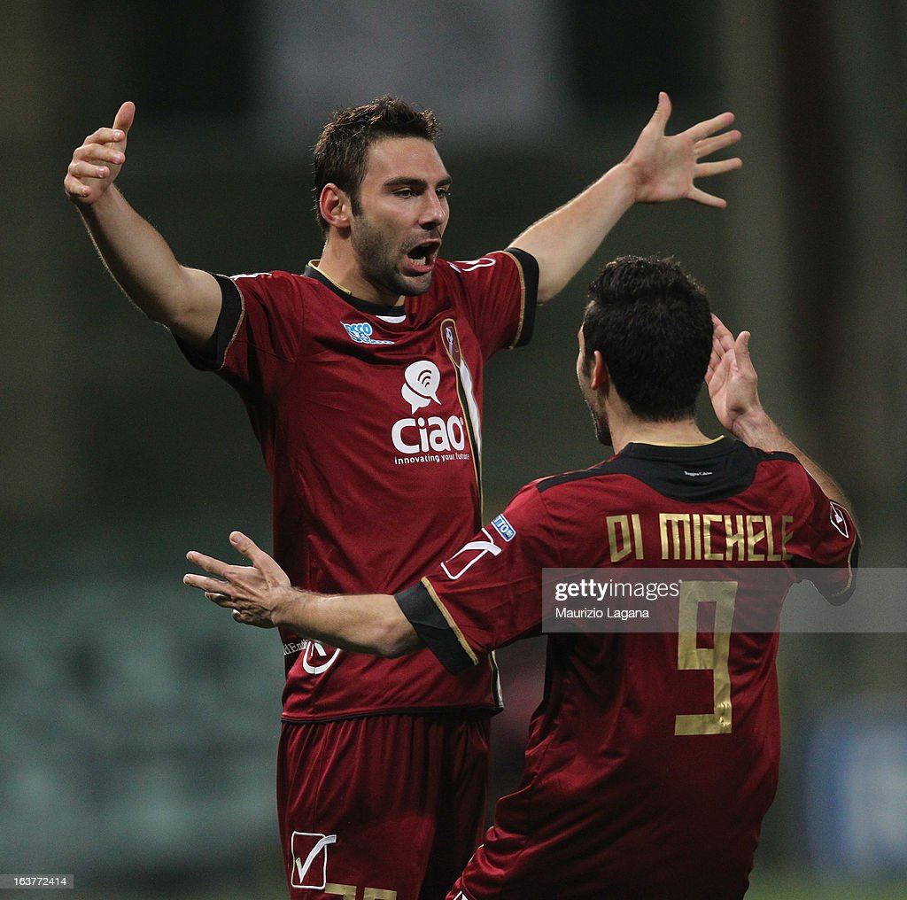 Gianmario Comi of Reggina Calcio celebrates after scoring the opening goal during the Serie B match between Reggina Calcio and AC Cesena at Stadio Oreste Granillo on March 15, 2013 in Reggio Calabria, Italy.